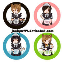 Meido button pins by janique29