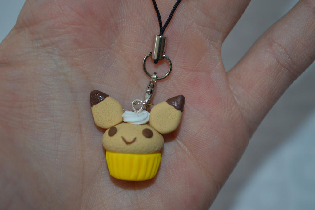 Kawaii Pikachu Cupcake Cell Phone Charm by PiinkKittyy