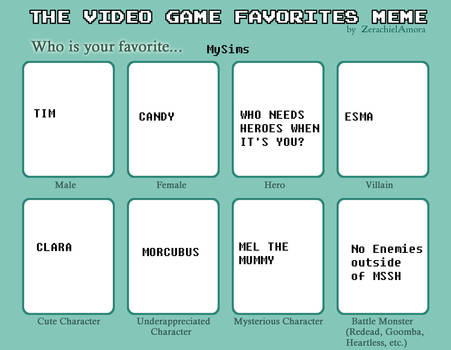 Video Game Favorites Meme: MySims