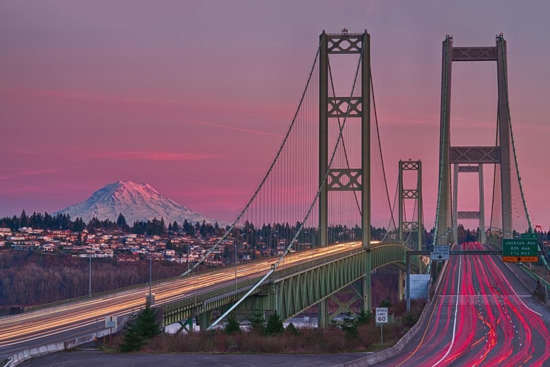Narrow's Bridge and Mount Rainier by arnaudperret