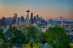 Seattle and Mount Rainier at Sunrise