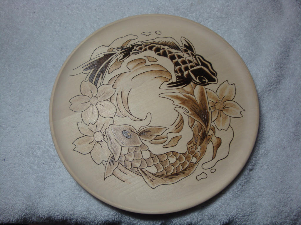 Koi platter woodburning by ironhorn2501