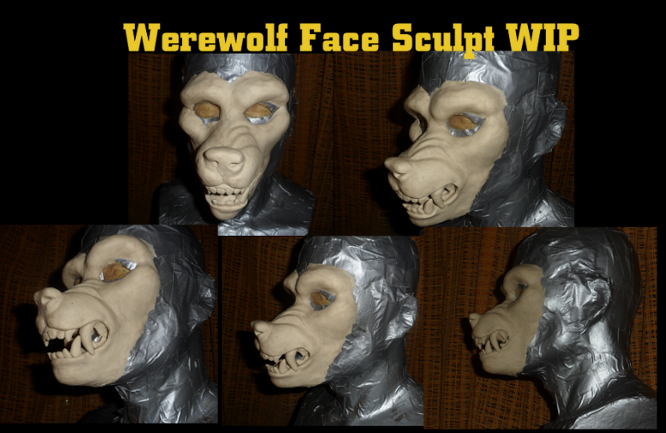 Werewolf face sculpt WIP by nagowteena101