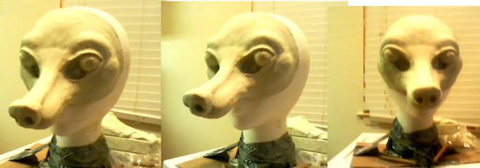 Rough clay work, Fox mask!