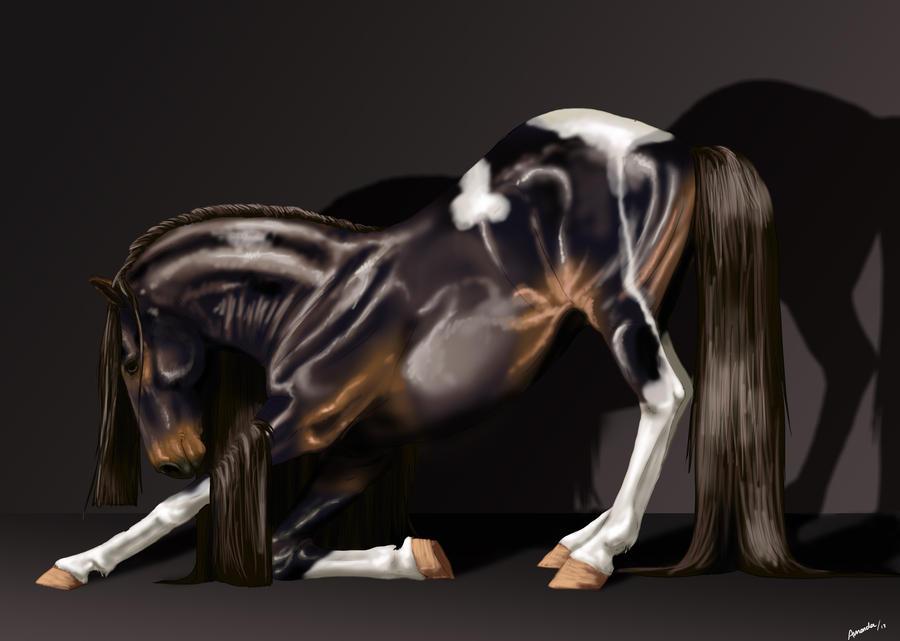 Bowing stallion by LinnestoftasEternal
