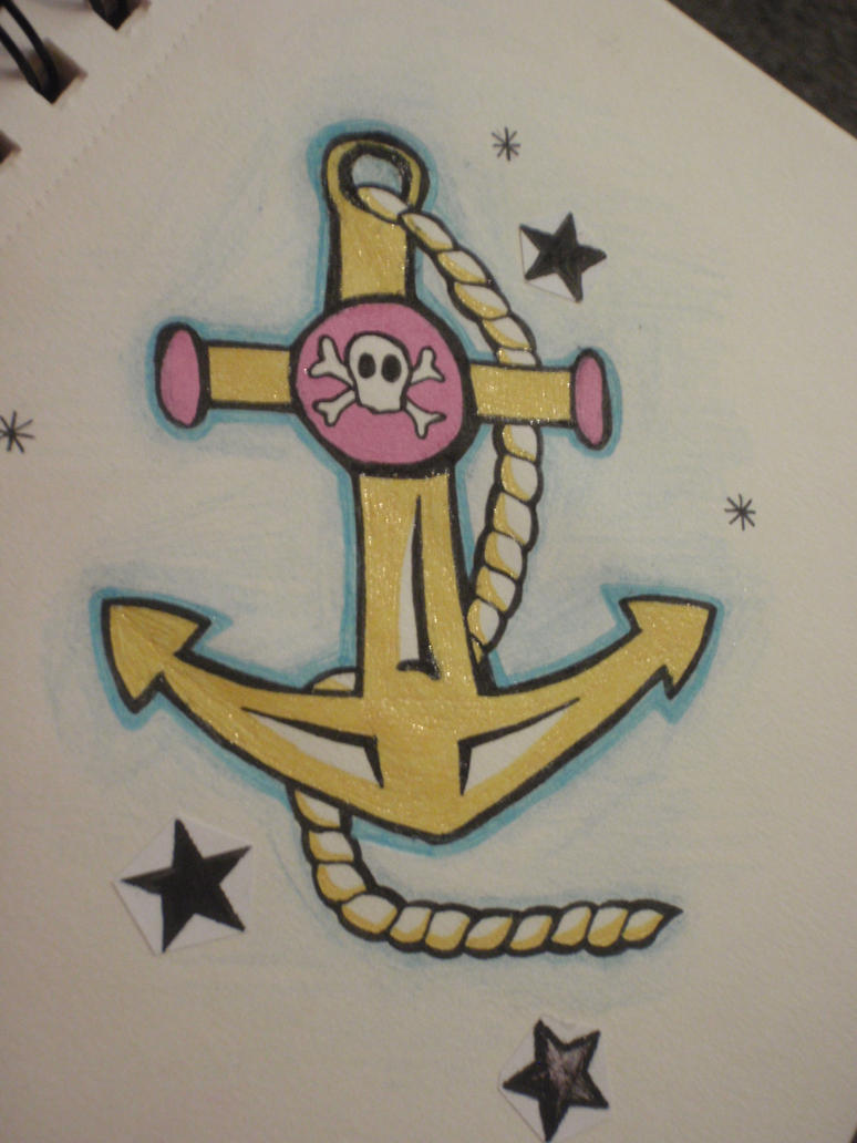 Anchor and skull tattoo by
