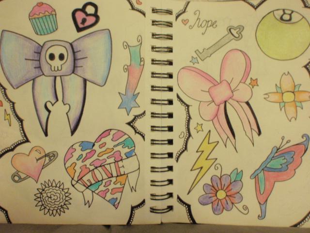 Girly tattoo flash - Halloween tattoo flash sheet ...  |Cool Drawings Flash Girly
