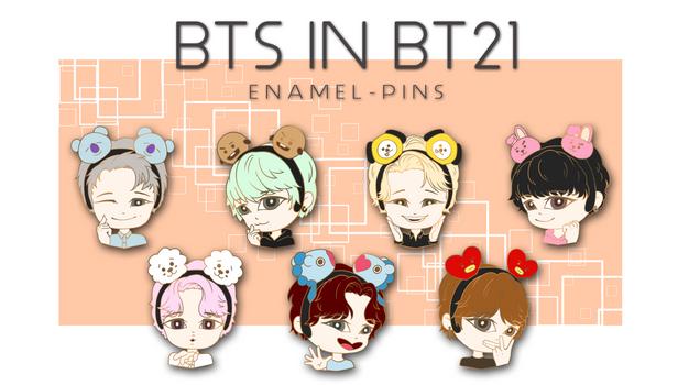[KICKSTARTER: CLOSED] BTS in BT21 Enamel Pins