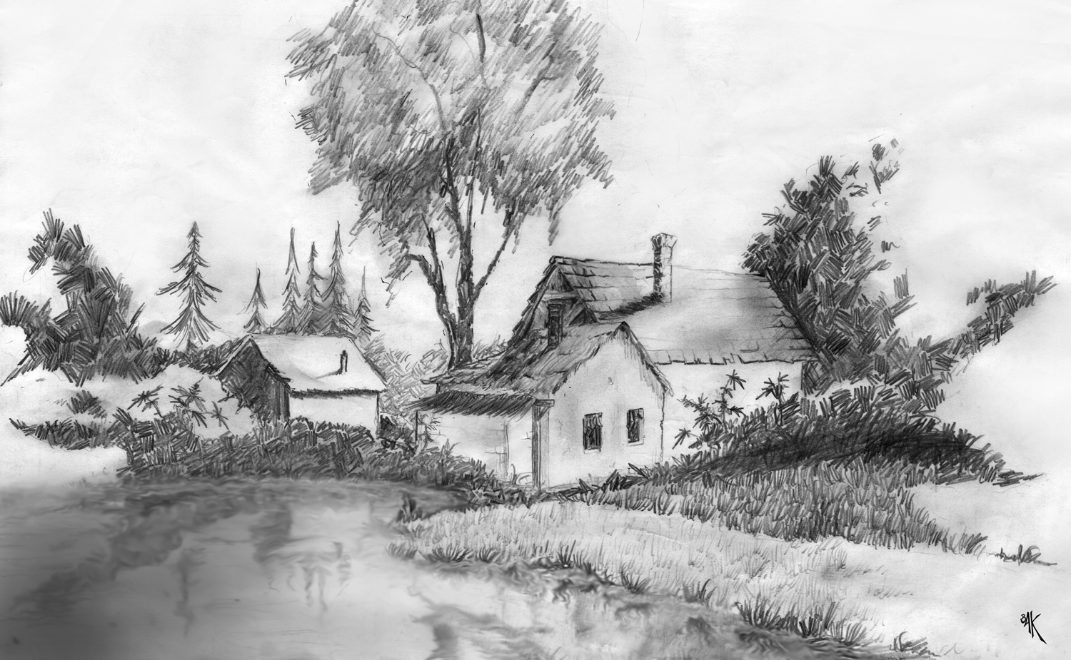 Old school drawing by perthfabricated on deviantart for Landscape pencil sketches simple