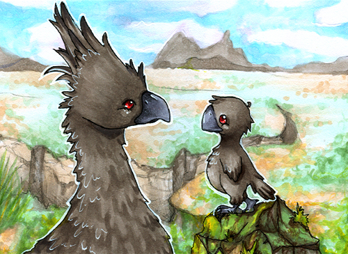 ACEO Black Chocobo by dorophant