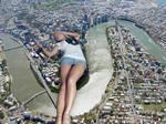 Giantess Jenni Czech Lays In City