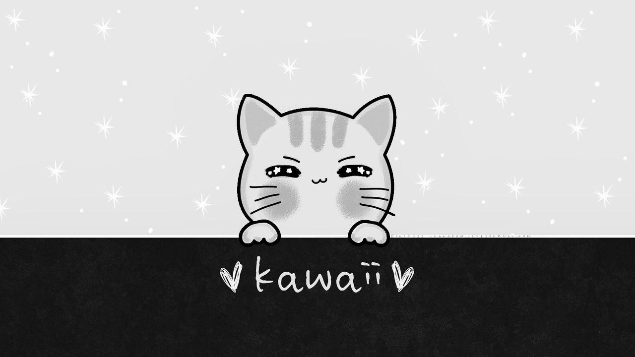 KAWAII CAT gray (Wallpaper) Kakapum@lj