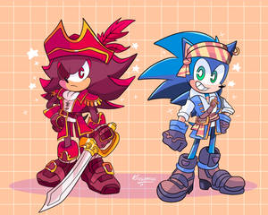 Pirate Sonic and Shadow :3