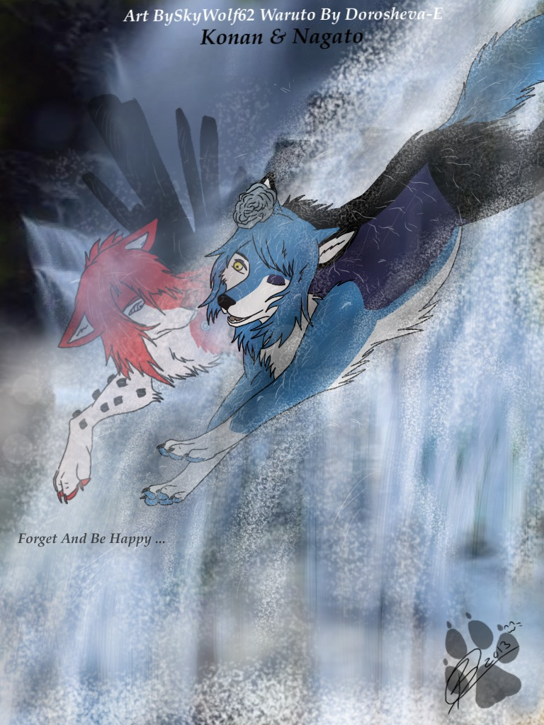 Waruto: Konan And Nagato Jumping Down A Waterfall by Chibi-Cola-SkyWolf62