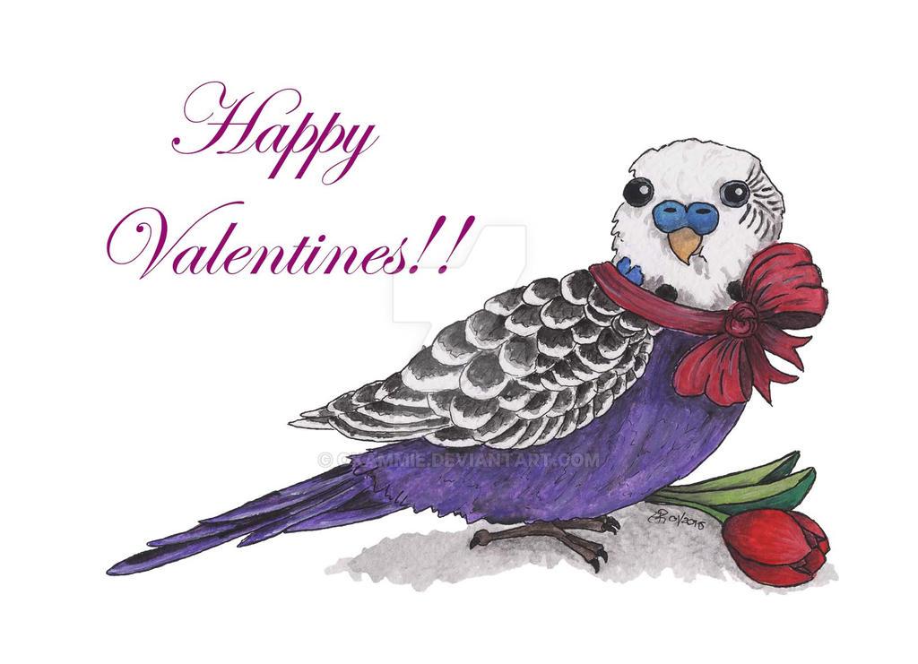 Valentine's Budgie by Okammie