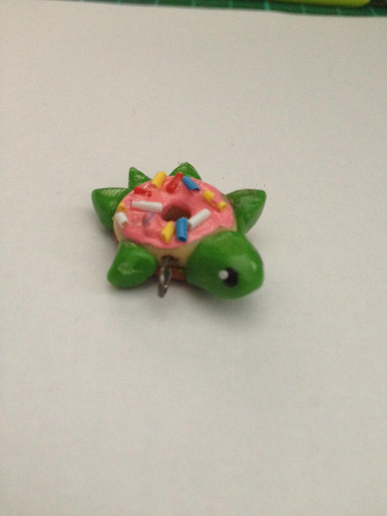 Polymer Clay Donut Turtle Charm by Petit-Chamallow