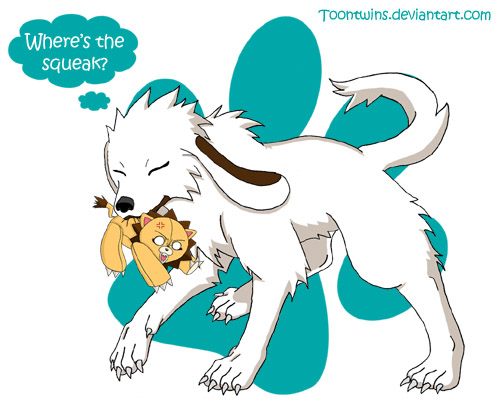 Akamaru's New Toy by ToonTwins
