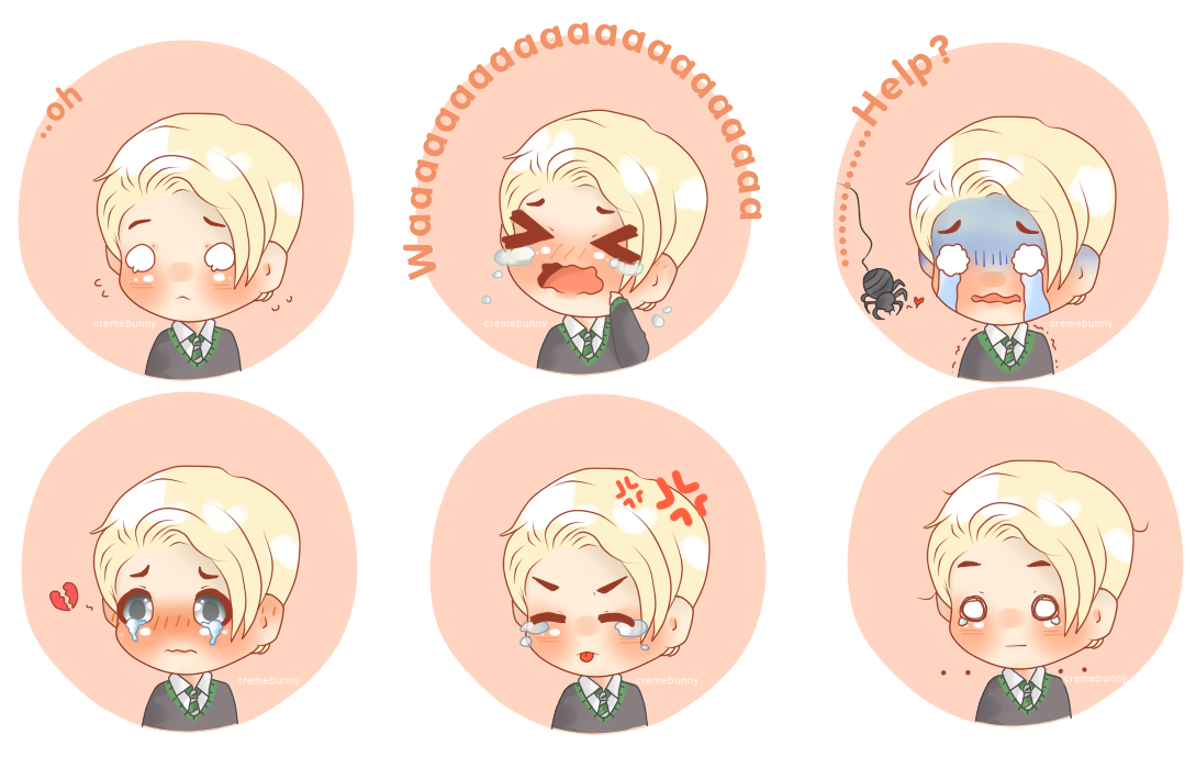 Chibi Draco - Crybaby Expressions by Cremebunny