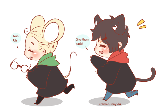 Chibi Drarry Cat And Mouse By Cremebunny On Deviantart
