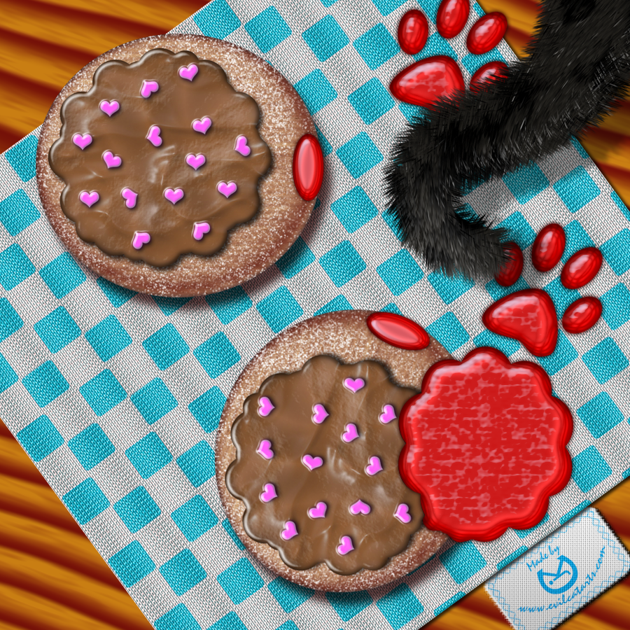 Strawberry Jelly Kitty Cat by EvilCatArts
