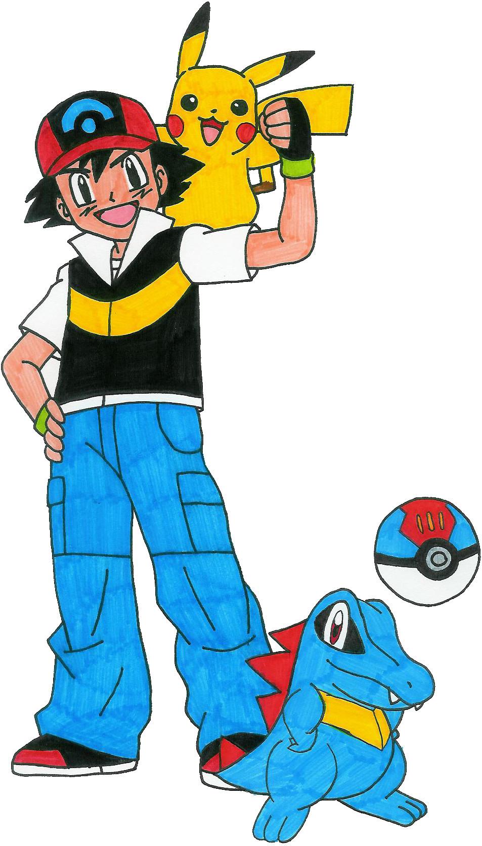 Ash x pikachu ash pikachu and totodile by