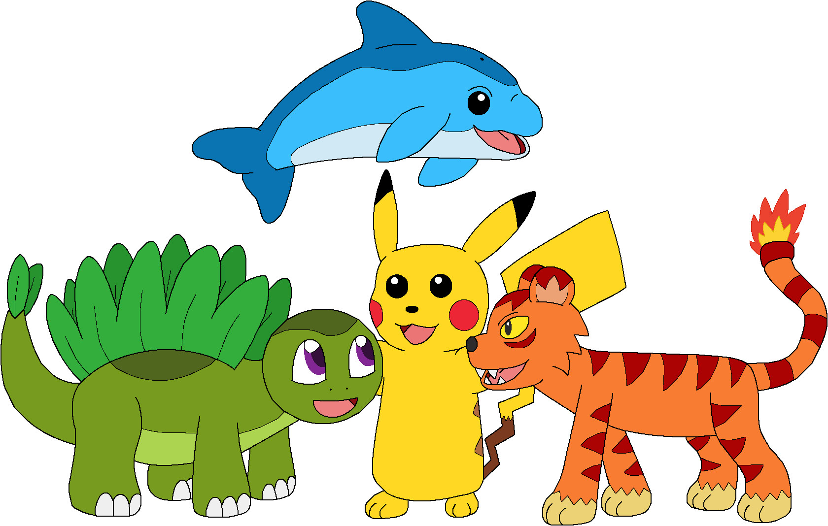 Pikachu and his new friends by MCsaurus on DeviantArt