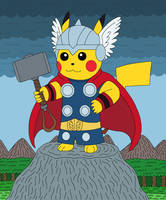 Pikachu as Thor, the God of Thunder by MCsaurus