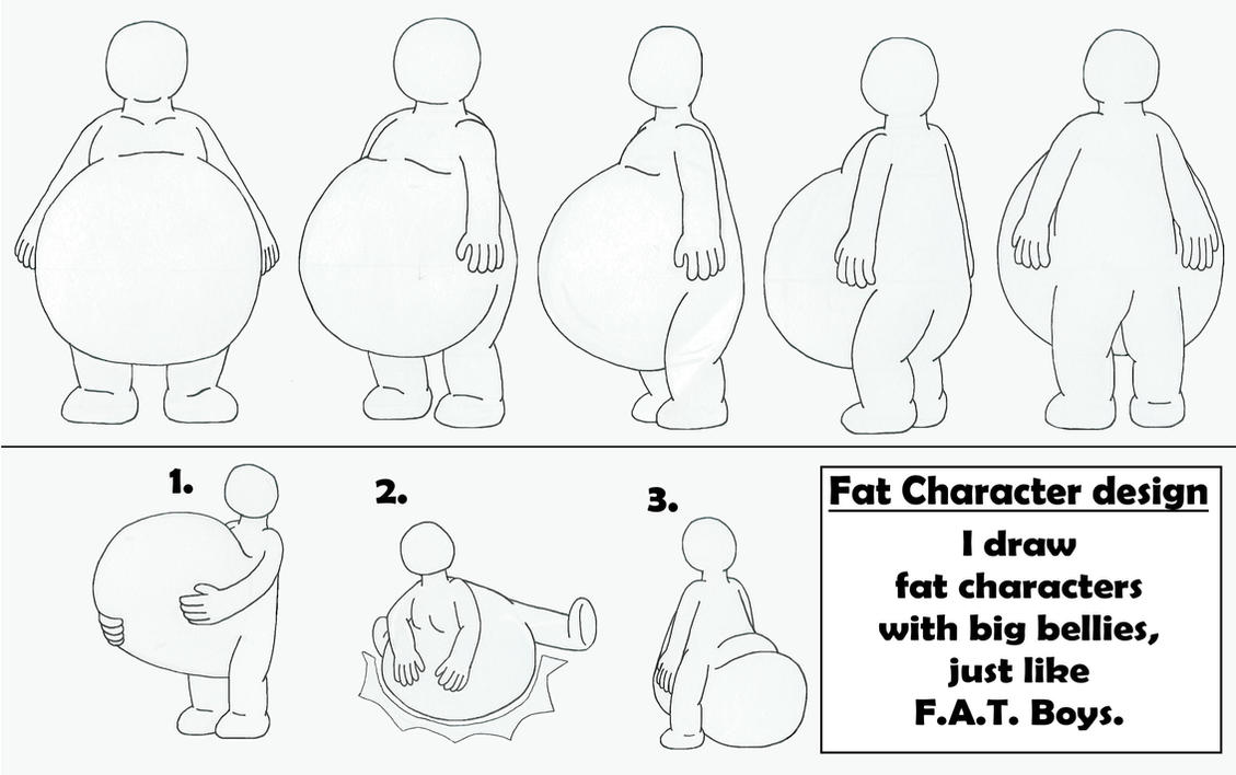 Overweight Boy Belly Fat Character with big belly