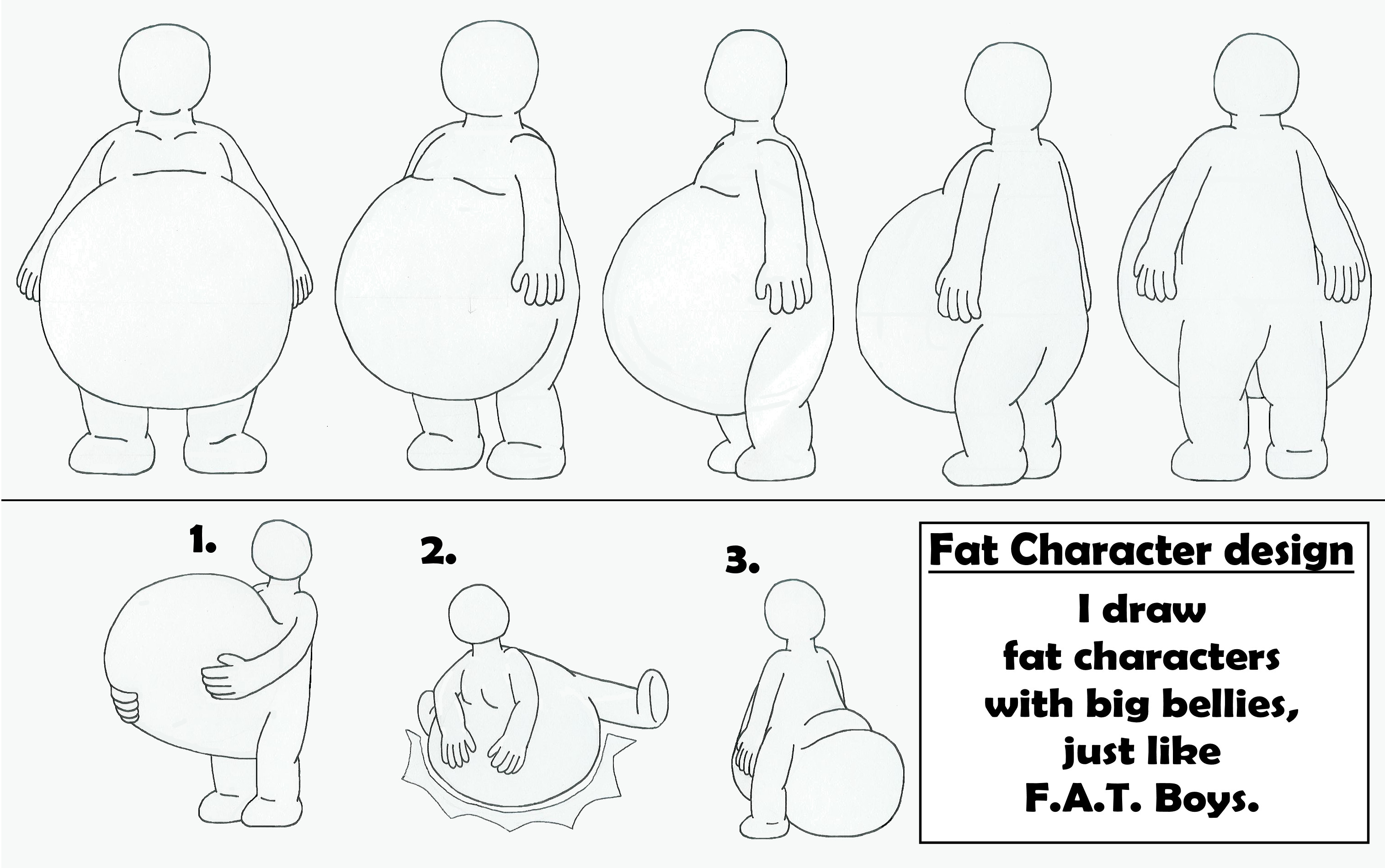 Fat Character with big belly design by MCsaurus