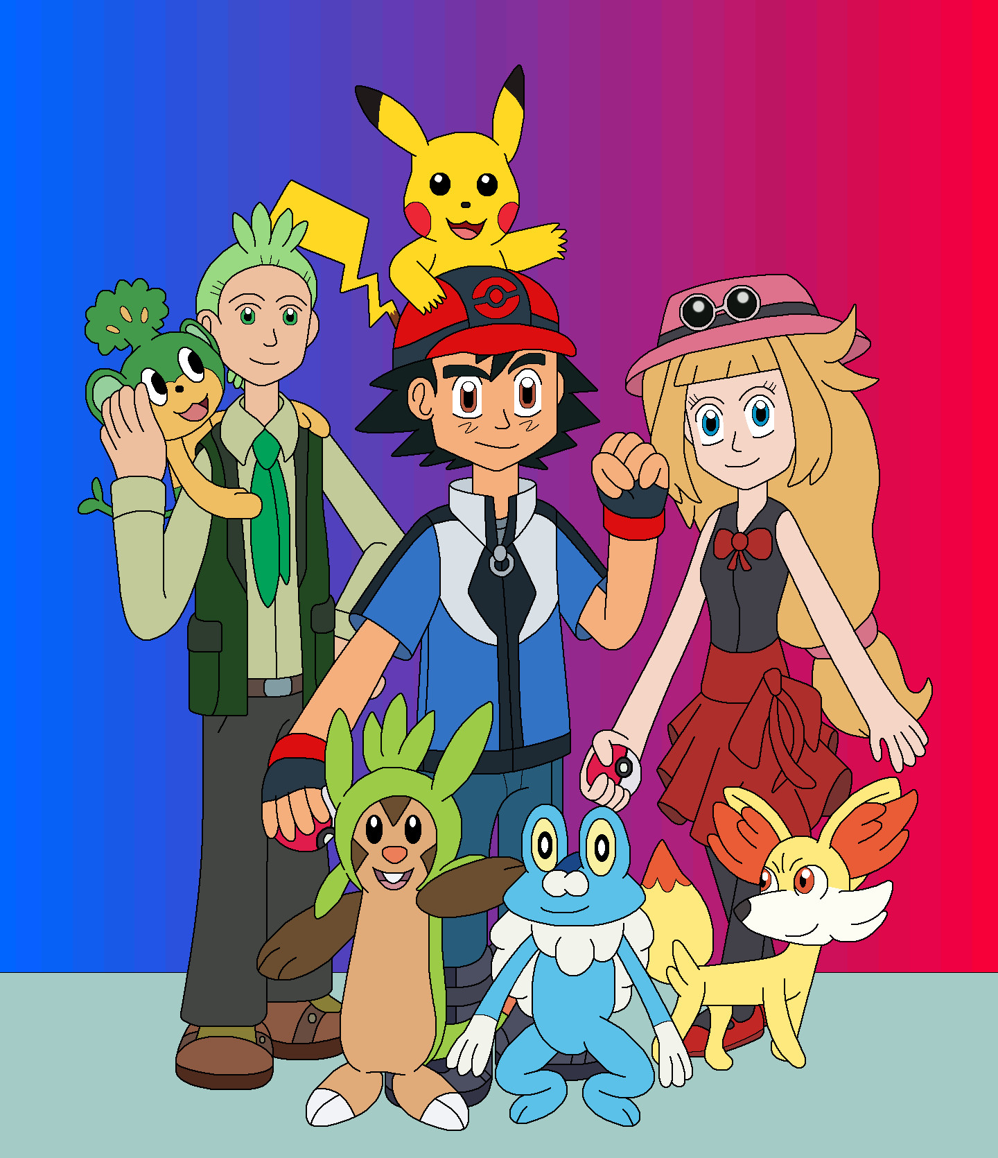 ash and his friends in pokemon x and y by mcsaurus on deviantart