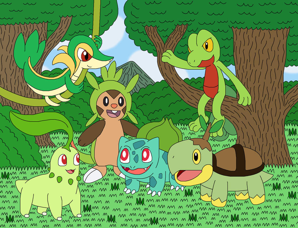 all grass type starter pokemon pictures
