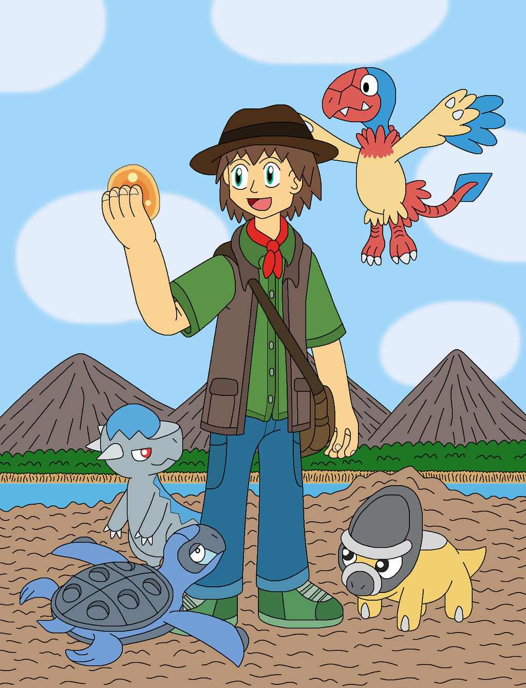 Paleontology Trainer and his Fossil Pokemon by MCsaurus on