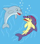 Dolphin and Ophthalmosaurus