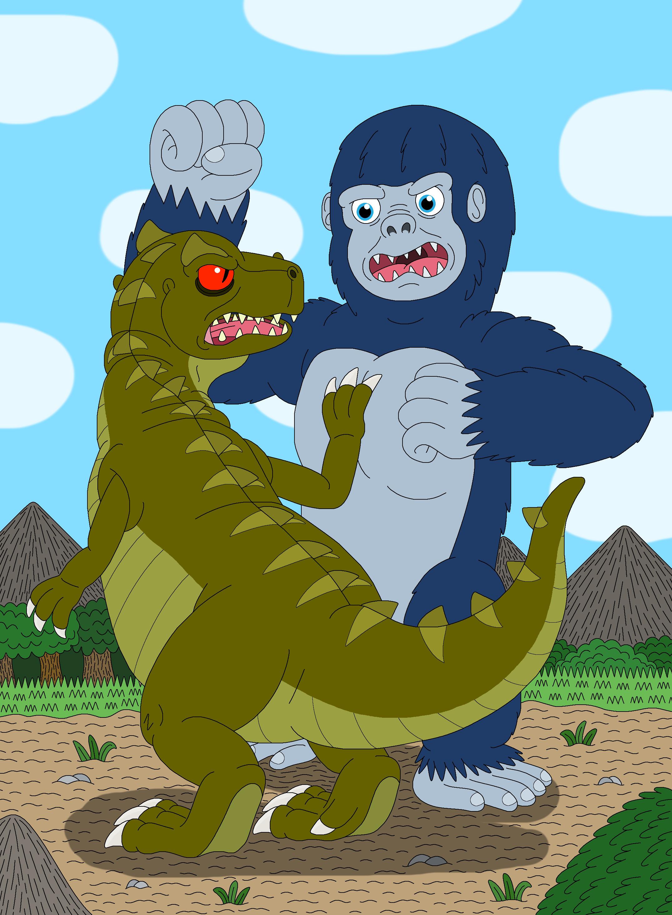 King Kong VS Plated Sharptooth by MCsaurus on DeviantArt