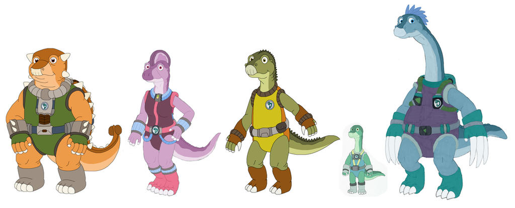 Sizes of five new Dinosaucers by MCsaurus