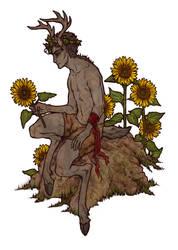 Sunflower Satyr by honeyroastedferrets