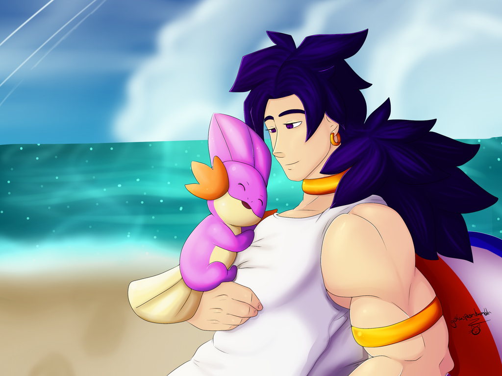Broly with shiny mudkip by gokuspasm