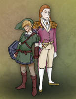 Link and Zelda (kind of...) by Le-RenardRoux