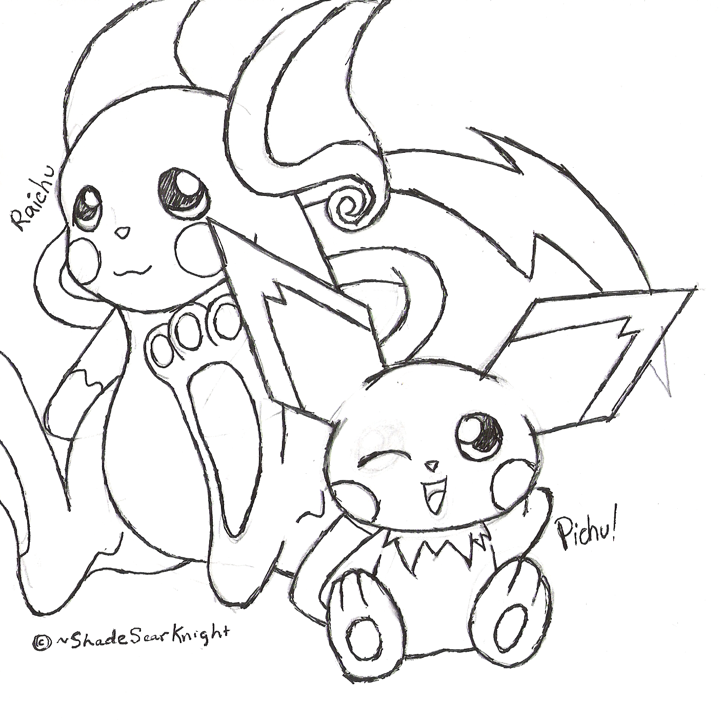Raichu and pichu request by shadowscarknight on deviantart for Pichu coloring pages