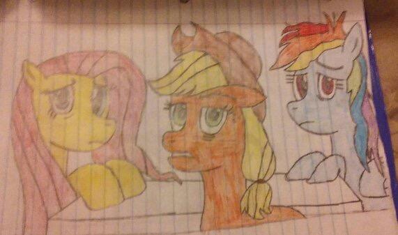 Fluttershy, Applejack and Rainbow Dash by LyricArchive