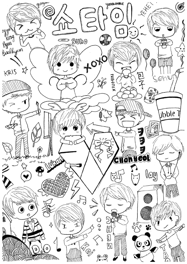 exo coloring pages   Exo Kai Chibi Coloring Pages Coloring Pages