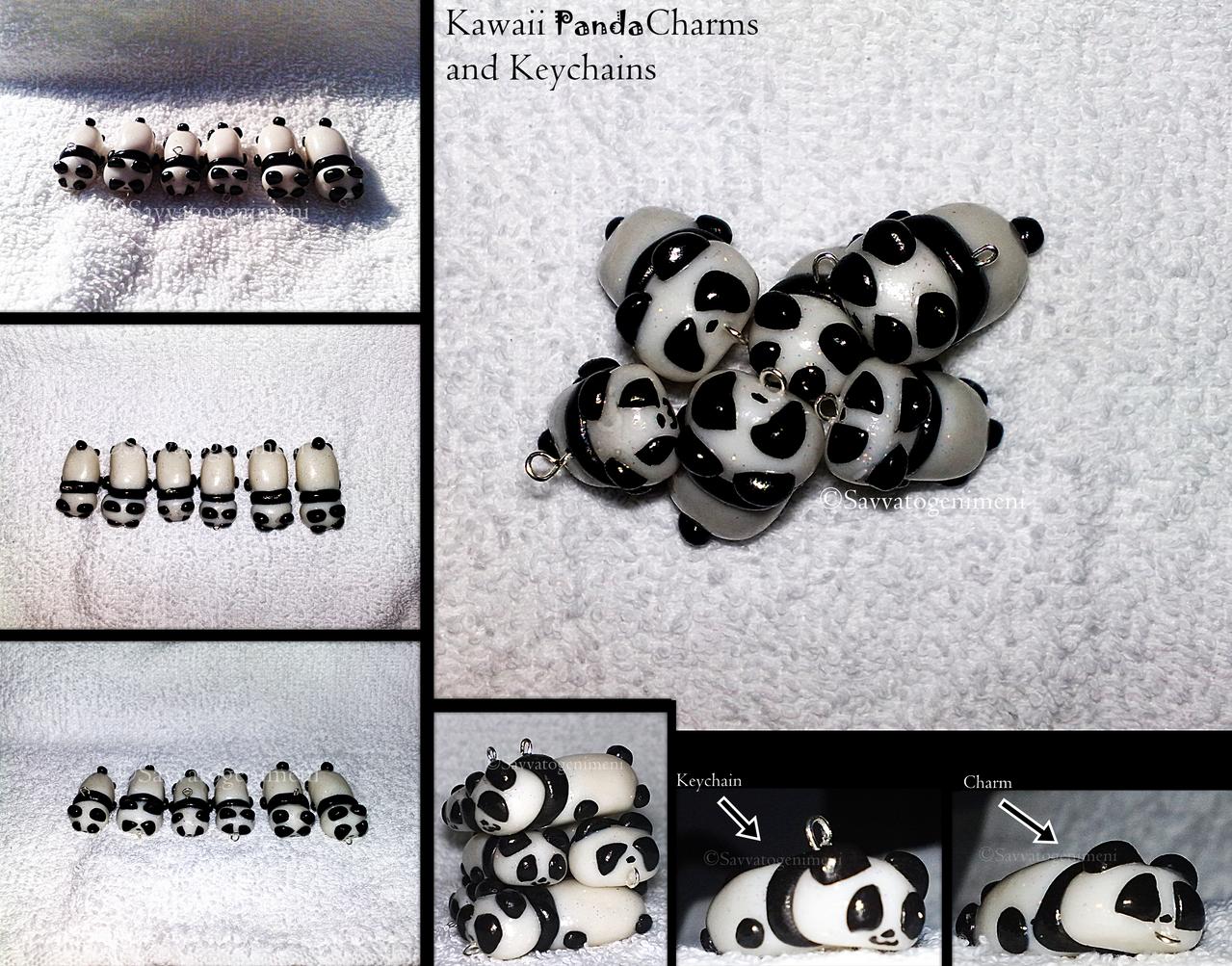 Kawaii Panda Charms and Keychains by Savvatogenimeni