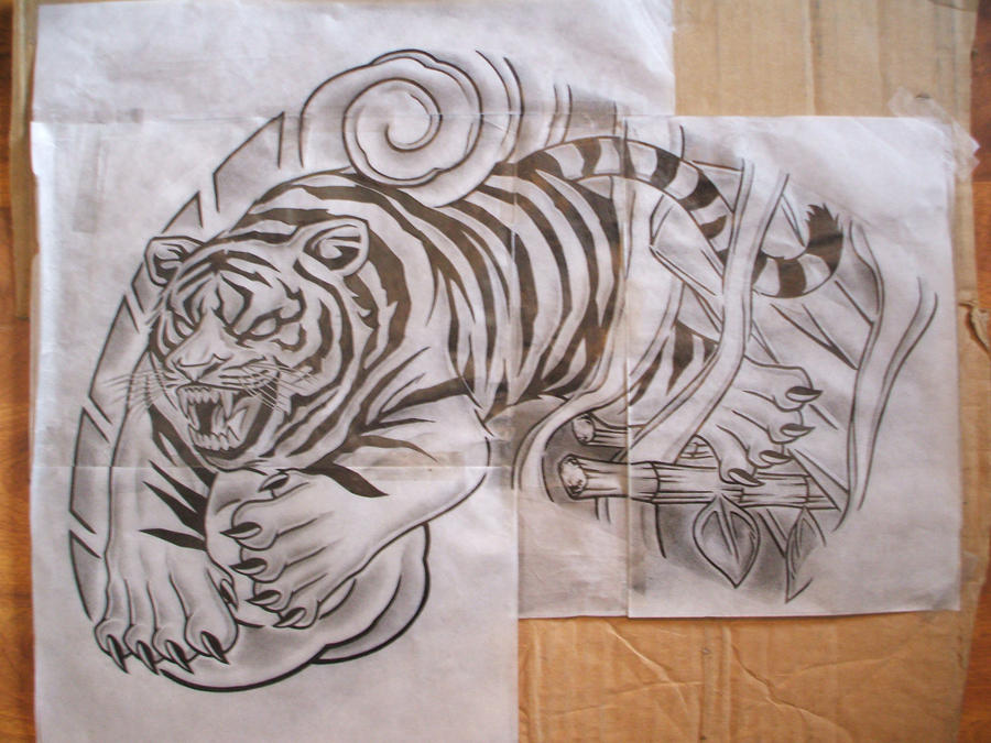 tiger stencil - chest tattoo