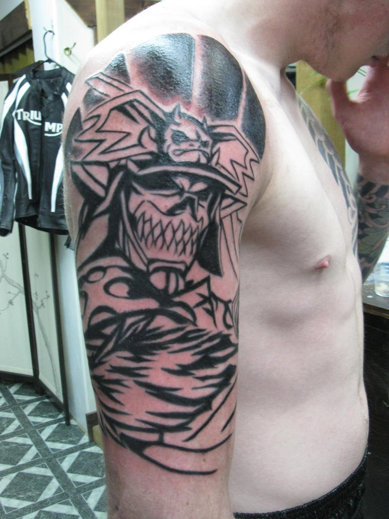 Demon samurai half sleeve base by haink on deviantart for Demon half sleeve tattoos