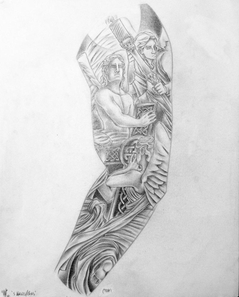 5 angels n anglican cross custom left arm sleeve by haink for Forearm tattoo sketches