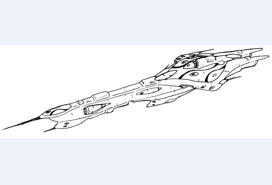 Alien Battle cruiser by Angryspacecrab