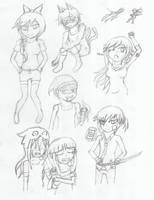 Random Sketches #4 [Persona and RWBY OCs] by leprincexD