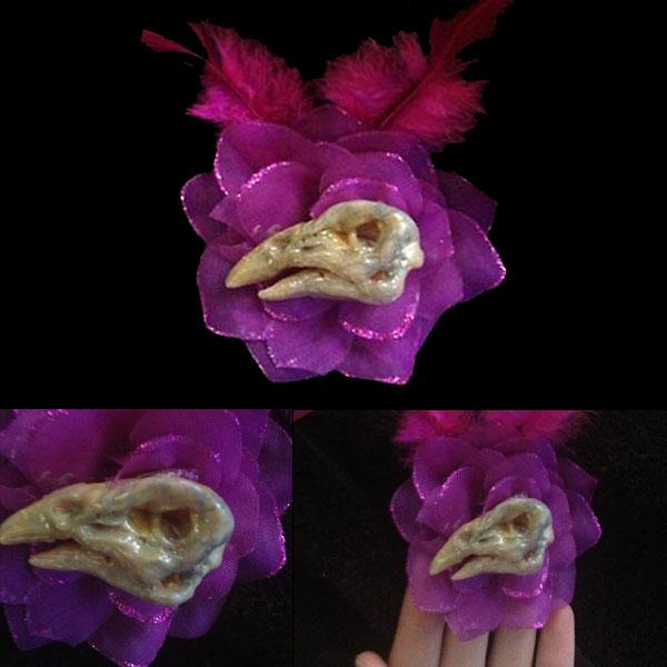 Faux Bird Skull Hair Clip by Anesthetic-X