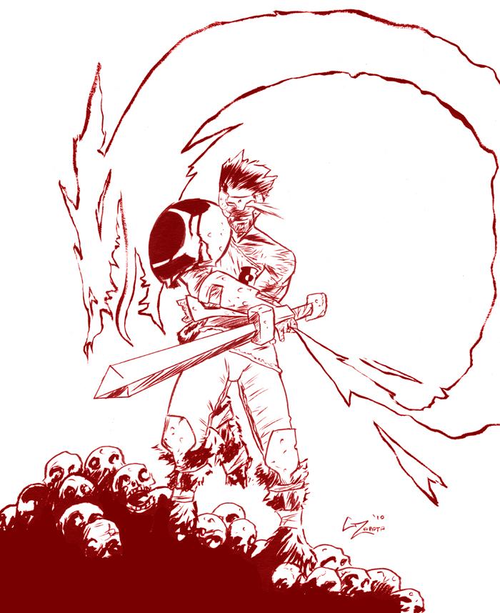 Green Lantern Hyborian Age BW by gzapata