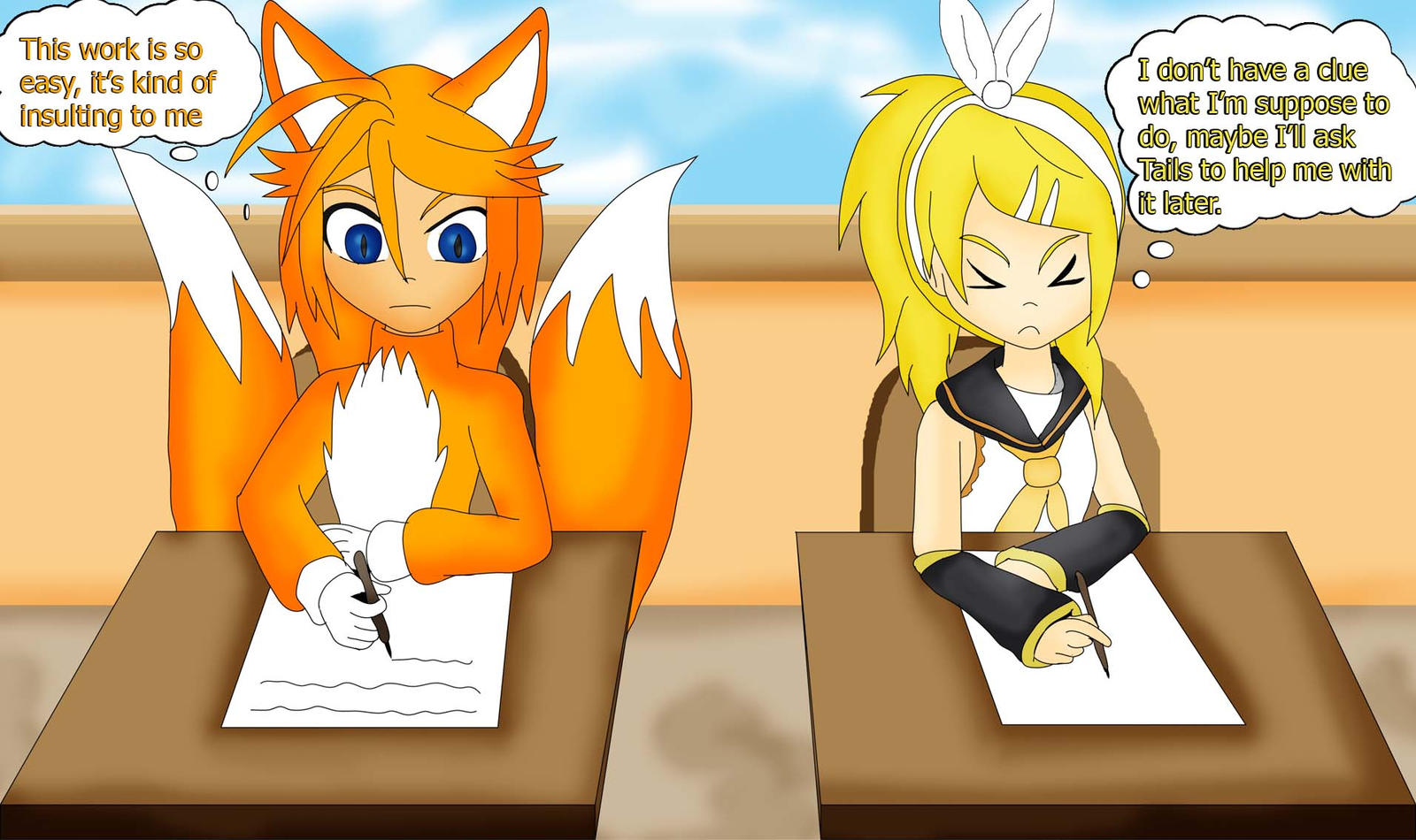 TaRin in school by Skye-Izumi